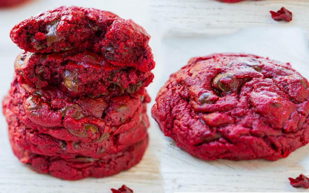 Red Velvet Gooey Butter Chocolate Chip Cookies